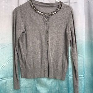 Embellished grey cardigan